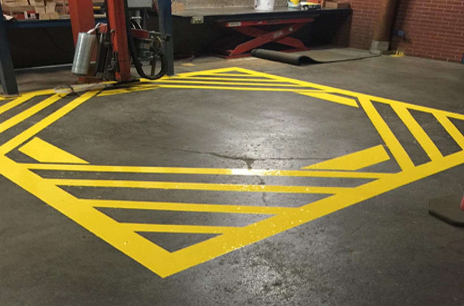 Pallet wrapper caution floor marking