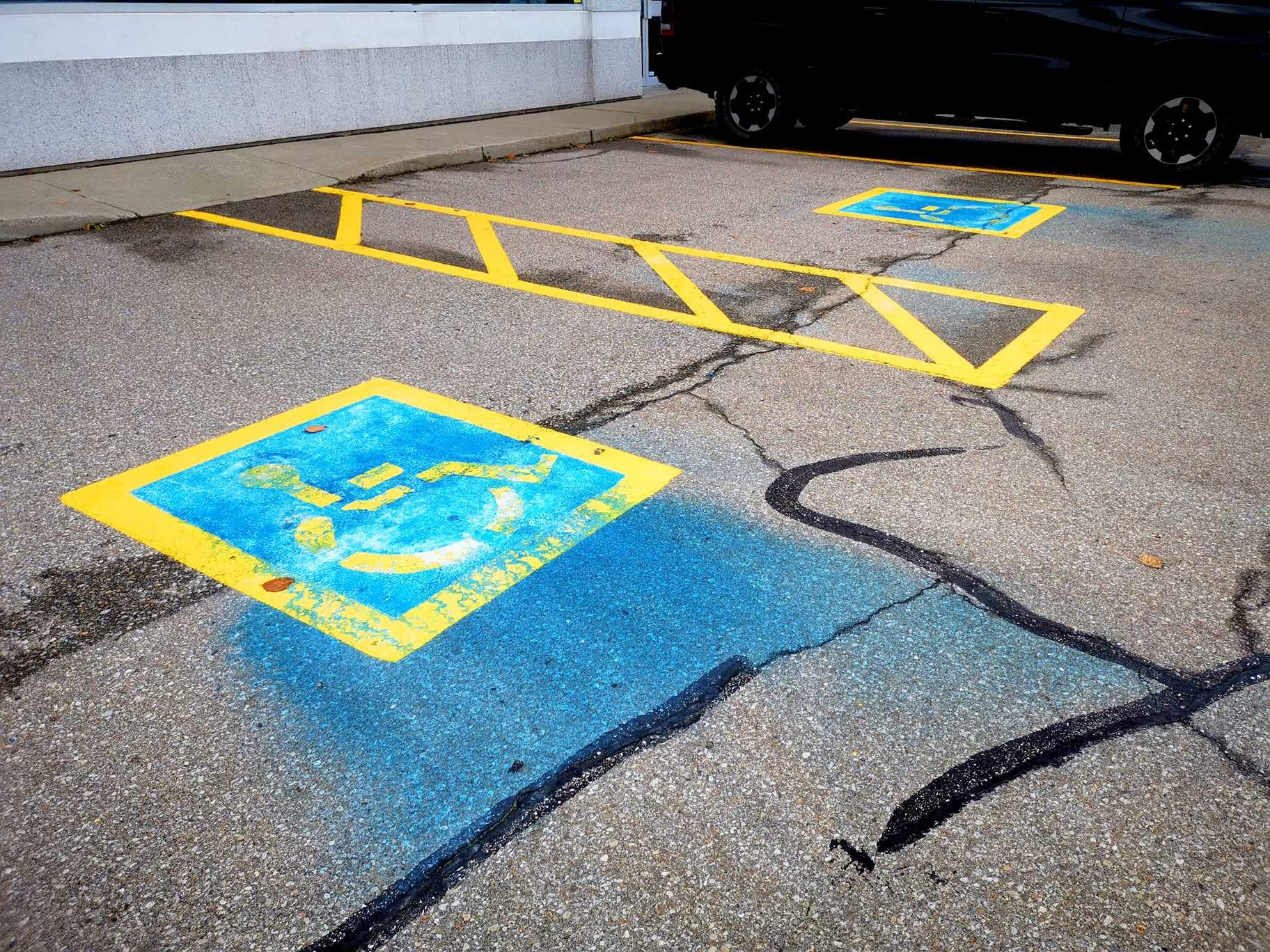 Bad line painting of handicap spaces