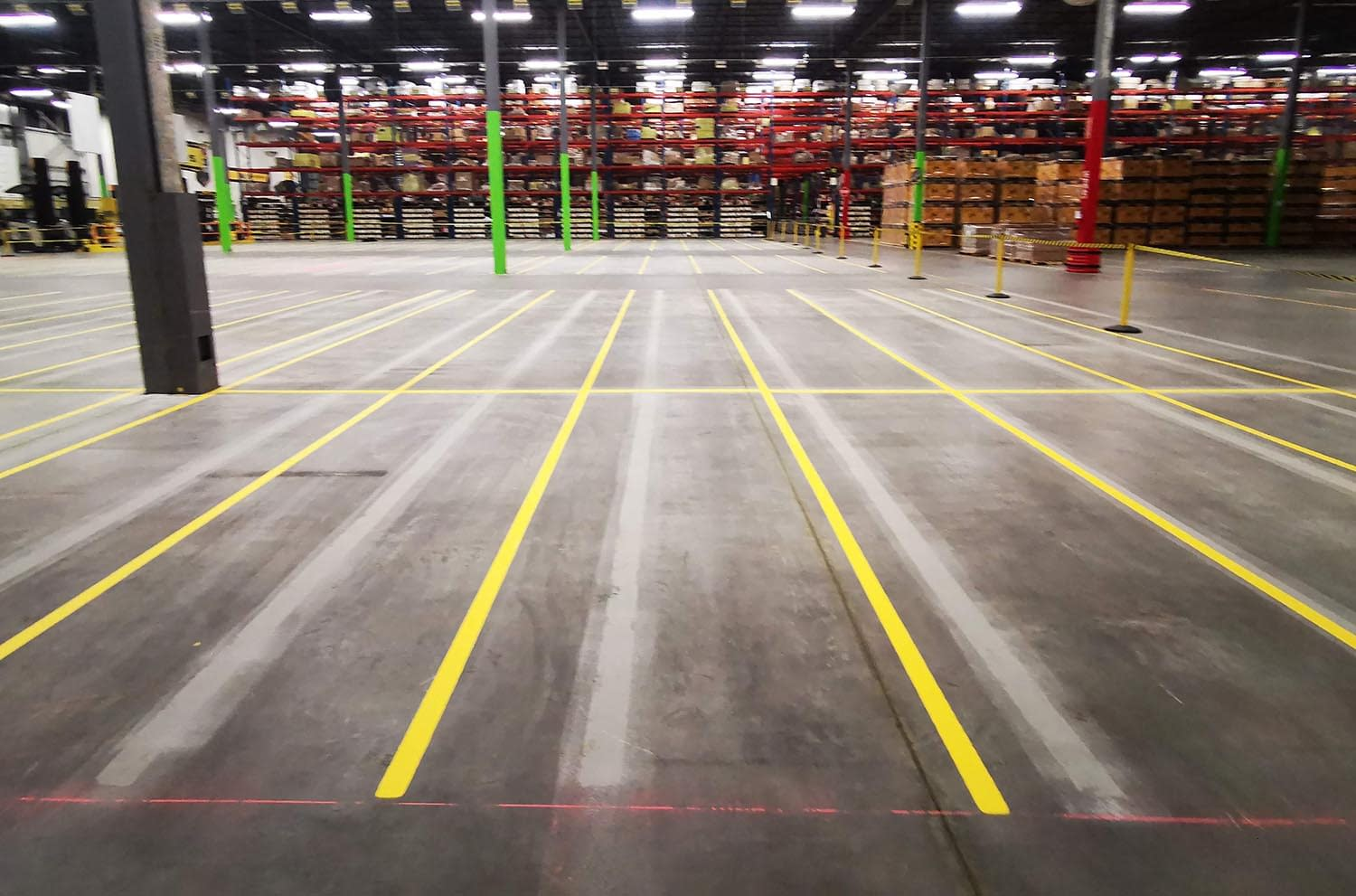 painted warehouse pallet lines
