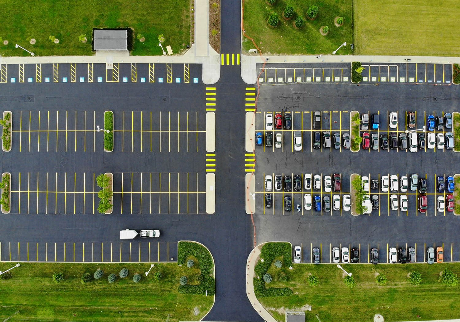 Overhead image of parking lot painting